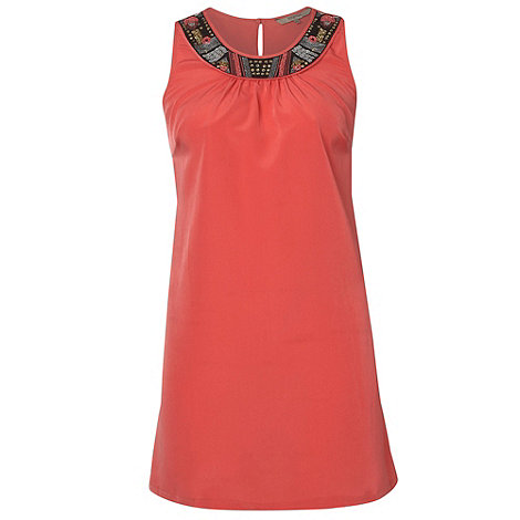 Gorgeous - Coral tribal neck tunic top