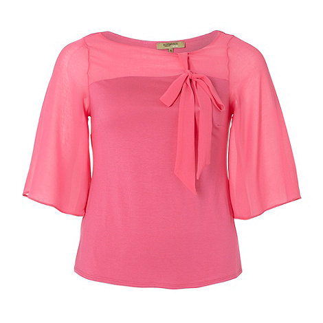 Gorgeous - Pink bow neck t-shirt