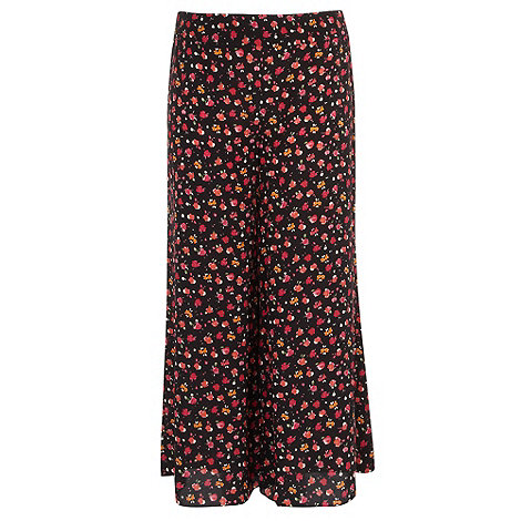 Gorgeous - Black floral print palazzo trousers
