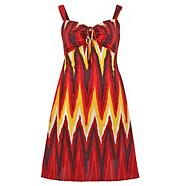 Red tribal print day dress