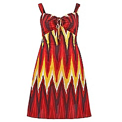 Gorgeous - Red tribal print day dress
