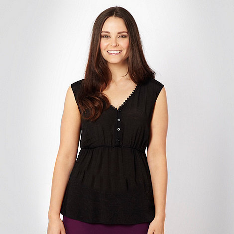 Gorgeous - Black sheer crochet trim top