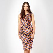 Red zig zag print jersey dress