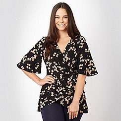 Gorgeous - Black blossom printed wrap top
