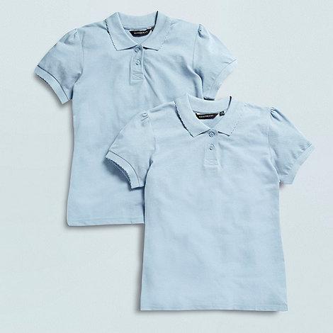 Debenhams - Girl+s pack of two blue school uniform polo shirts