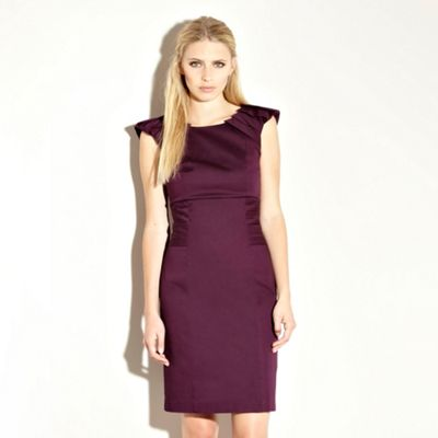 Warehouse Fashion Square on Purple Pleat Shoulder Shift Dress By Warehouse