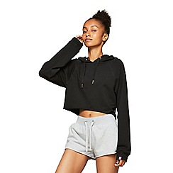 Miss Selfridge - Pineapple black crop raw hem hoodies