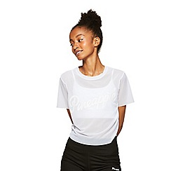 Miss Selfridge - Pineapple white logo cropped mesh t-shirt