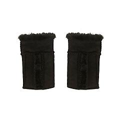 Miss Selfridge - Black shearling mittens