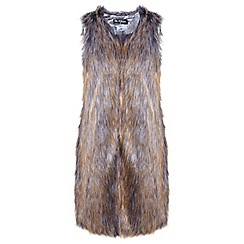 Miss Selfridge - Long line faux fur gillet