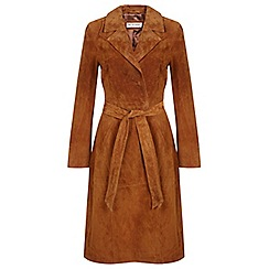 Miss Selfridge - Tan suede trench coat