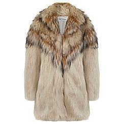 Miss Selfridge - Oversize blonde faux fur coat