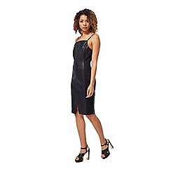 Miss Selfridge - Black pu cami dress