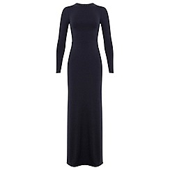 Miss Selfridge - Navy lace up back maxi dress