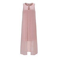 Miss Selfridge - Pink overlay trim maxi dress
