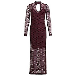 Miss Selfridge - Burgundy lace maxi dress