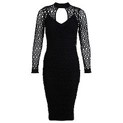 Miss Selfridge - Black lace bodycon midi dress