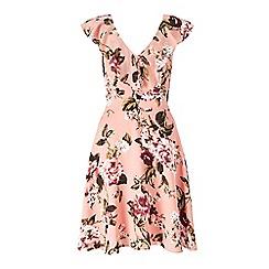 Miss Selfridge - Peach floral flippy dress