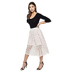 Miss Selfridge - Floral lace midi skirt