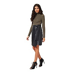 Miss Selfridge - Black leather knot skirt