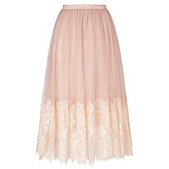 Miss Selfridge - Nude mesh midi skirt