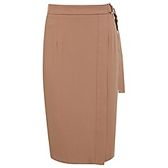 Miss Selfridge - Nude judo wrap pencil skirt