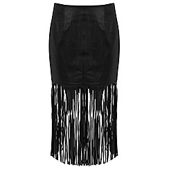 Miss Selfridge - Black leather fringe skirt