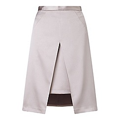 Miss Selfridge - Grey satin a line skirt