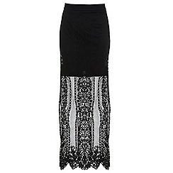 Miss Selfridge - Black scallop lace maxi skirt
