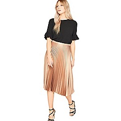 Miss Selfridge - Metallic pleated midi skirt