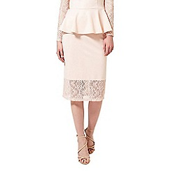 Miss Selfridge - Nude lace trim pencil skirt