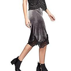 Miss Selfridge - Grey velvet lace trim skirt