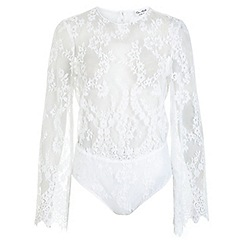 Miss Selfridge - White lace bell sleeve body