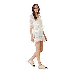 Miss Selfridge - Cream fringe tunic