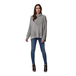 Miss Selfridge - Light grey cable knit jumper