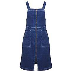 Miss Selfridge - Zip through denim pinny dress