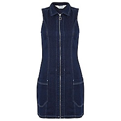 Miss Selfridge - Zip through v neck denim dress