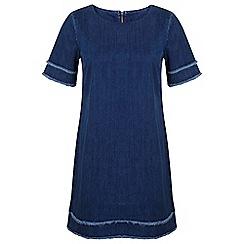 Miss Selfridge - Dark wash raw hem denim dress