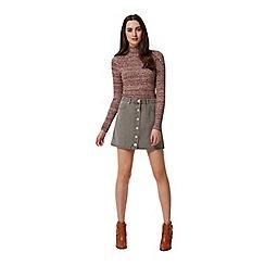 Miss Selfridge - Grey button through skirt