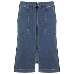 Miss Selfridge - Zip through denim midi skirt