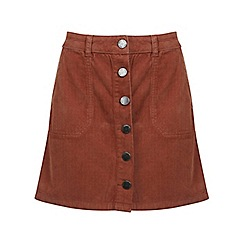Miss Selfridge - Rust cord a line mini skirt