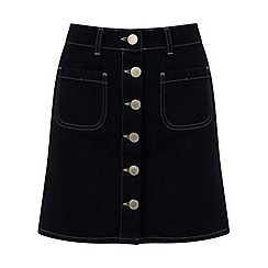 Miss Selfridge - Indigo button through skirt