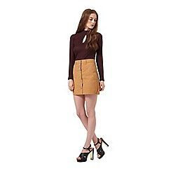 Miss Selfridge - Camel button through skirt