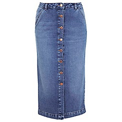 Miss Selfridge - Mid wash denim midi skirt