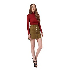 Miss Selfridge - Khaki button through skirt