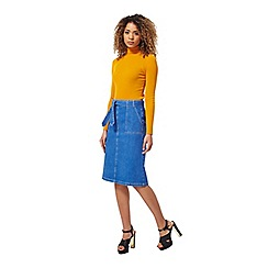 Miss Selfridge - Bright blue denim midi skirt