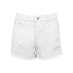 Miss Selfridge - White distressed denim short