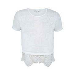 Miss Selfridge - Ivory lace hem top