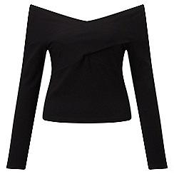 Miss Selfridge - Black long sleeve bardot top