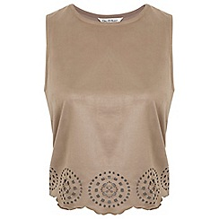 Miss Selfridge - Tan suedette laser cut top